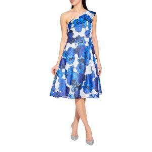 Adrianna Papell Floral Fit & Flare One Shoulder Cocktail Dress 8